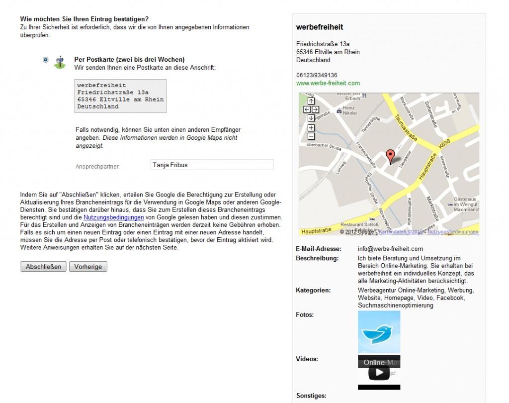 Google Places Adresse bestätigen